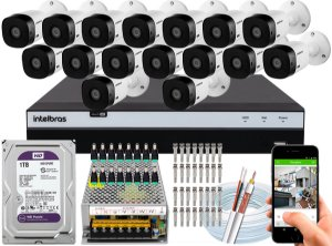 Kit CFTV Intelbras 16 Câmeras VHL 1220 B e DVR de 16 Canais MHDX 3116 1TB WD Purple