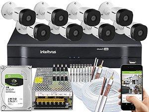 Kit CFTV Intelbras 08 Câmeras VHD 1010 B G5 e DVR de 08 Canais MHDX 1108 2cx Cabo