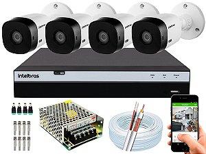 Kit CFTV Intelbras 04 Câmeras VHL 1120 B e DVR de 04 Canais MHDX 3104 S/ HD