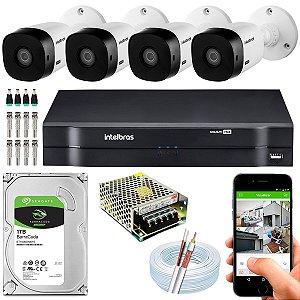 Kit CFTV Intelbras 04 Câmeras VHL 1120 B e DVR de 08 Canais MHDX 1108