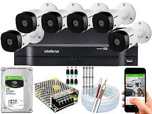 Kit CFTV Intelbras 06 Câmeras VHL 1120 B e DVR de 08 Canais MHDX 1108