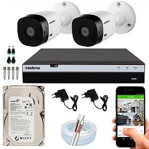Kit CFTV Intelbras 02 Câmeras VHL 1220 B e DVR de 04 Canais MHDX 3104 500GB