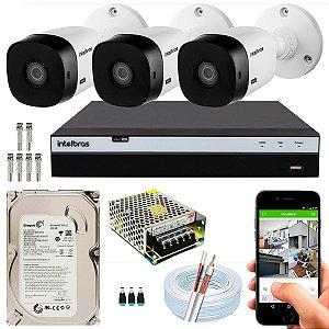 Kit CFTV Intelbras 03 Câmeras VHL 1220 B e DVR de 04 Canais MHDX 3104