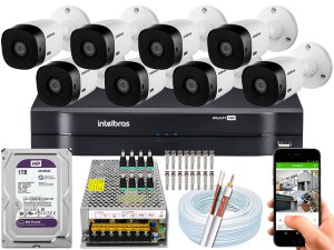 Kit CFTV Intelbras 08 Câmeras VHL 1220 B e DVR de 08 Canais MHDX 1108 1TB WD Purple