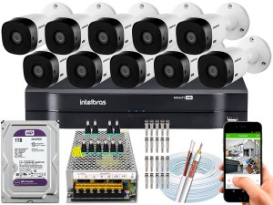 Kit CFTV Intelbras 10 Câmeras VHL 1220 B e DVR de 16 Canais MHDX 1116 1TB WD Purple