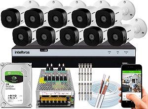 Kit CFTV Intelbras 10 Câmeras VHL 1220 B e DVR de 16 Canais MHDX 3116