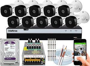 Kit CFTV Intelbras 10 Câmeras VHL 1220 B e DVR de 16 Canais MHDX 3116 1TB WD Purple