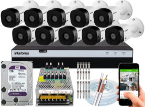 Kit CFTV Intelbras 10 Câmeras VHL 1220 B e DVR de 16 Canais MHDX 3116 2TB WD Purple