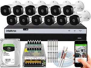 Kit CFTV Intelbras 12 Câmeras VHL 1220 B e DVR de 16 Canais MHDX 3116