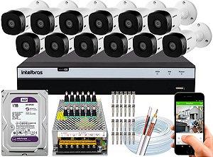 Kit CFTV Intelbras 12 Câmeras VHL 1220 B e DVR de 16 Canais MHDX 3116 1TB WD Purple