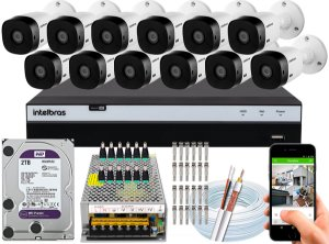 Kit CFTV Intelbras 12 Câmeras VHL 1220 B e DVR de 16 Canais MHDX 3116 2TB WD Purple