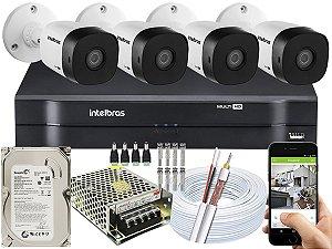 Kit CFTV Intelbras 04 Câmeras VHD 1010 B G5 e DVR de 04 Canais MHDX 1104 500GB