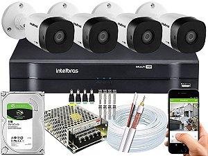 Kit CFTV Intelbras 04 Câmeras VHD 1010 B G5 e DVR de 04 Canais MHDX 1104 1TB