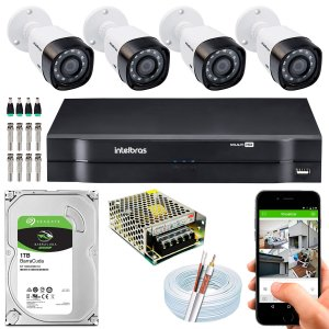 Kit CFTV Intelbras 04 Câmeras VHD 3230 B G4 e DVR de 04 Canais MHDX 1104