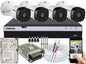 Kit CFTV Intelbras 04 Câmeras VHD 1010 B G5 e DVR de 04 Canais MHDX 3104 500GB