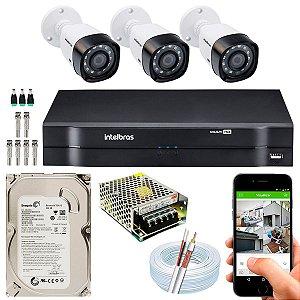 Kit CFTV Intelbras 03 Câmeras VHD 1220 B G4 e DVR de 04 Canais MHDX 1104