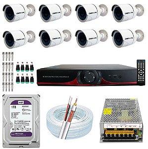 Kit CFTV 08 Câmeras AHD e DVR de 16 Canais 9016T 1TB WD Purple