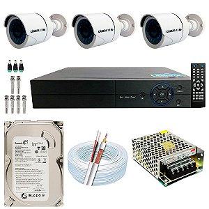 Kit CFTV 03 Câmeras AHD e DVR de 04 Canais Multi HD 500GB