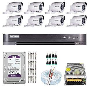Kit CFTV Hikvision 08 Câmeras THC-B120C-P e DVR de 08 Canais DS-7208 HQHI-K1 1TB WD Purple