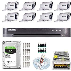 Kit CFTV Hikvision 08 Câmeras THC-B120C-P e DVR de 16 Canais DS-7216 HQHI-K1