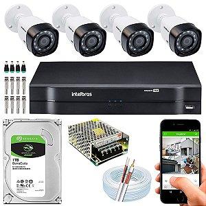 Kit CFTV Intelbras 04 Câmeras VHD 3130 B G4 e DVR de 04 Canais MHDX 1104