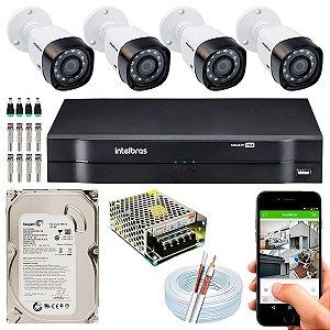 Kit CFTV Intelbras 04 Câmeras VHD 3130 B G4 e DVR de 04 Canais MHDX 1104 500GB