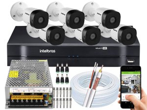 Kit CFTV Intelbras 06 Câmeras VHD 1010 B G5 e DVR de 08 Canais MHDX 1108 10A Sem HD