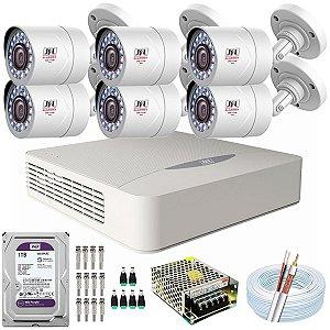 Kit CFTV JFL 06 Câmeras CHD-2110P e DVR de 08 Canais DHD-3308 1TB WD Purple