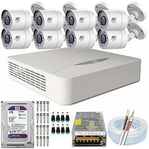 Kit CFTV JFL 08 Câmeras CHD-2110P e DVR de 08 Canais DHD-3308 1TB WD Purple