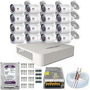 Kit CFTV JFL 16 Câmeras CHD-2110P e DVR de 16 Canais DHD-3316 1TB WD Purple
