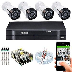Kit CFTV Intelbras 04 Câmeras VHD 1220 B G4 e DVR de 04 Canais MHDX 1104 S/ HD