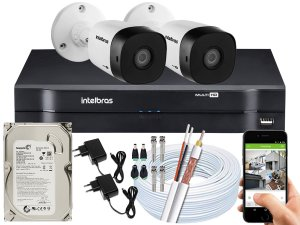 Kit CFTV Intelbras 02 Câmeras VHD 1120 B G5 e DVR de 04 Canais MHDX 1104 500GB