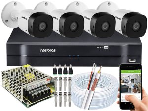 Kit CFTV Intelbras 04 Câmeras VHD 1120 B G5 e DVR de 04 Canais MHDX 1104 Sem HD
