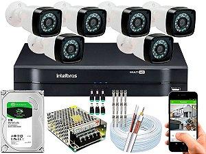 Kit CFTV 06 Câmeras EJCF-3200 e DVR de 08 Canais MHDX 1108