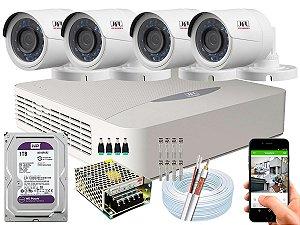 Kit CFTV JFL 04 Câmeras CHD-2230P e DVR de 04 Canais DHD-3304 1TB WD Purple