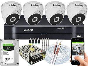 Kit CFTV Intelbras 04 Câmeras VHD 3120 Dome G5 e DVR de 04 Canais MHDX 1104
