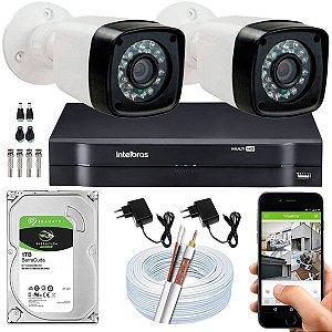 Kit CFTV 02 Câmeras EJCF-3200 e DVR de 04 Canais MHDX 1104 1TB