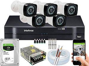 Kit CFTV 05 Câmeras EJCF-3200 e DVR de 08 Canais MHDX 1108
