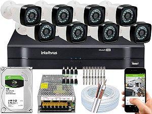 Kit CFTV 08 Câmeras EJCF-3200 e DVR de 08 Canais MHDX 1108