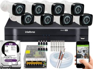 Kit CFTV 08 Câmeras EJCF-3200 e DVR de 08 Canais MHDX 1108 1TB WD Purple