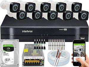 Kit CFTV 10 Câmeras EJCF-3200 e DVR de 16 Canais MHDX 1116