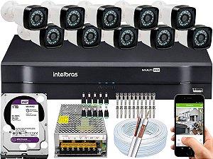 Kit CFTV 10 Câmeras EJCF-3200 e DVR de 16 Canais MHDX 1116 1TB WD Purple