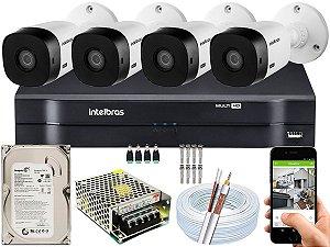 Kit CFTV Intelbras 04 Câmeras VHL 1120 B e DVR de 04 Canais MHDX 1104 500GB