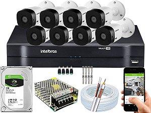 Kit CFTV Intelbras 08 Câmeras VHL 1120 B G4 e DVR de 08 Canais MHDX 1108