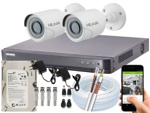 Kit CFTV Hikvision 02 Câmeras THC-B120C-P e DVR de 04 Canais DS-7204 HQHI-K1 500GB