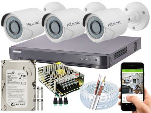 Kit CFTV Hikvision 03 Câmeras THC-B120C-P e DVR de 04 Canais DS-7204 HQHI-K1 500GB