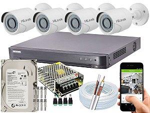 Kit CFTV Hikvision 04 Câmeras THC-B120C-P e DVR de 04 Canais DS-7204 HQHI-K1 500GB