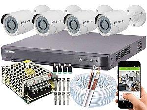Kit CFTV Hikvision 04 Câmeras THC-B120C-P e DVR de 04 Canais DS-7204 HQHI-K1 S/ HD