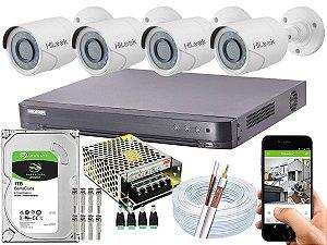 Kit CFTV Hikvision 04 Câmeras THC-B120C-P e DVR de 08 Canais DS-7208 HQHI-K1 1TB