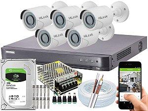 Kit CFTV Hikvision 05 Câmeras THC-B120C-P e DVR de 08 Canais DS-7208 HQHI-K1